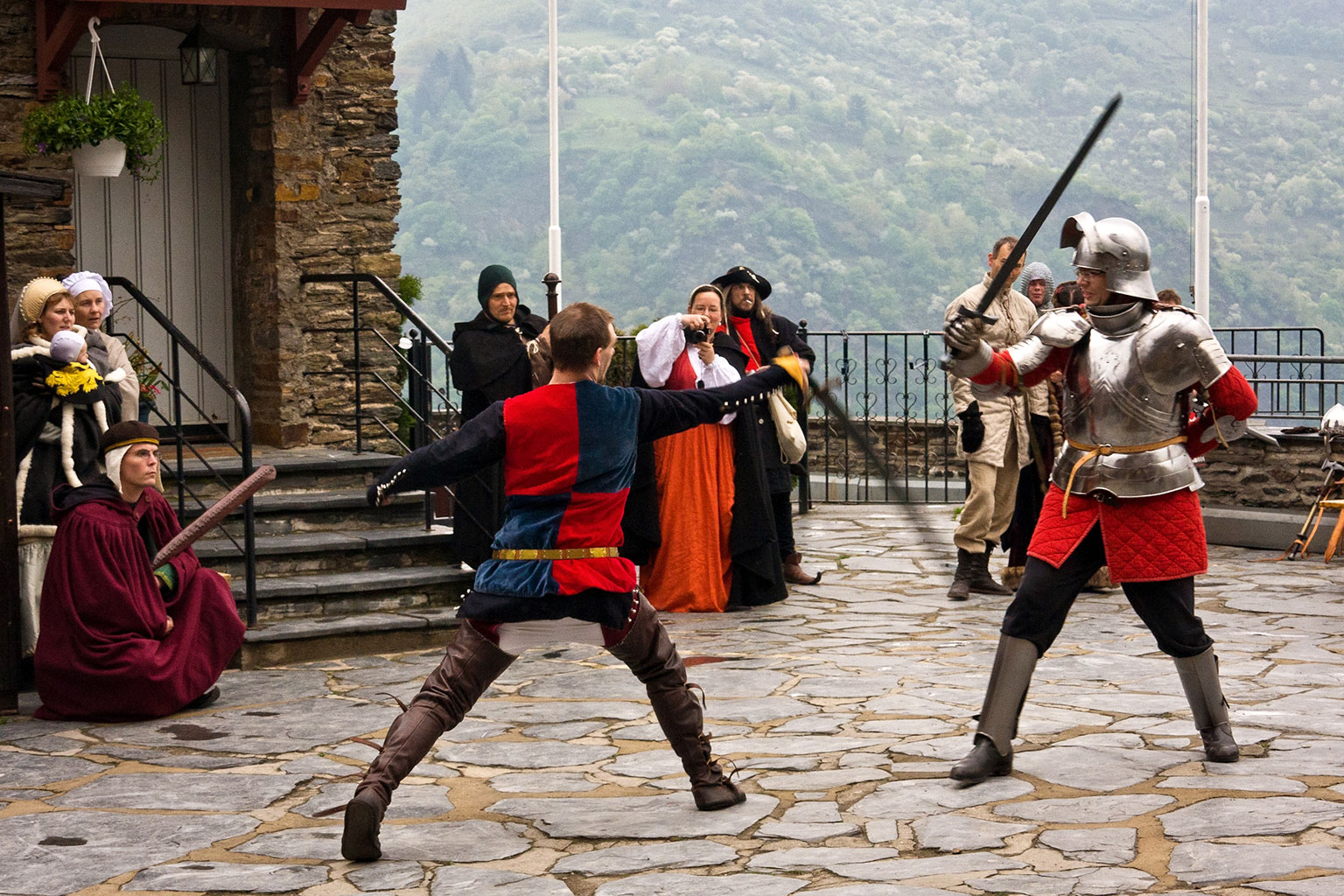 A Medieval cosplay sword fight at Stahleck Castle.