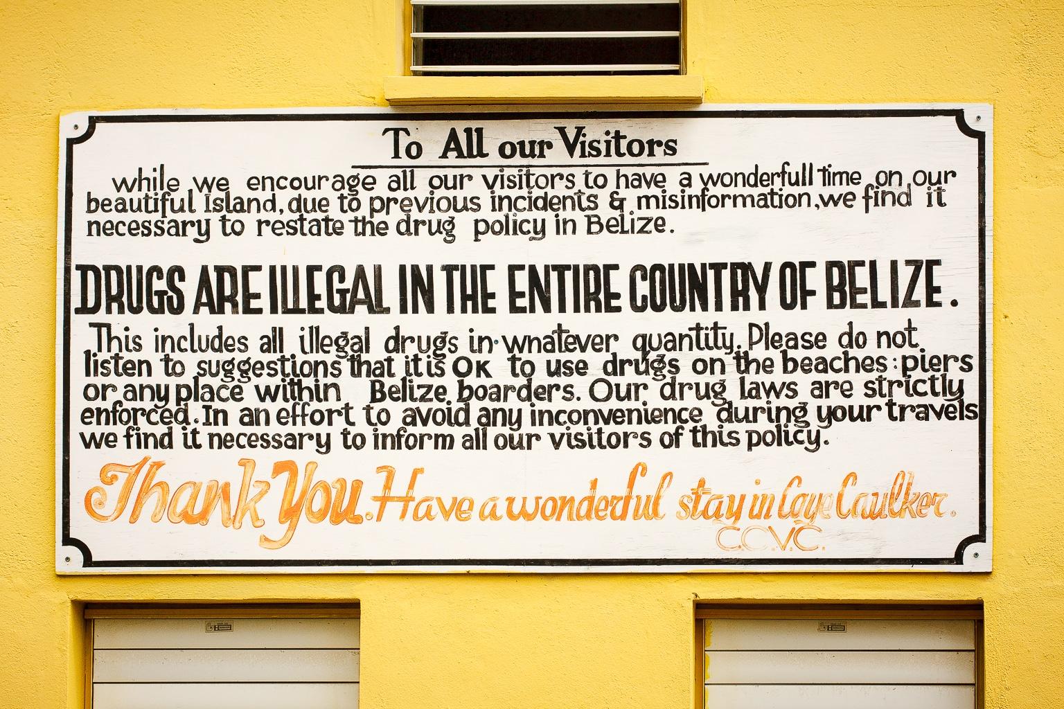 Rules on Caye Caulker, Belize