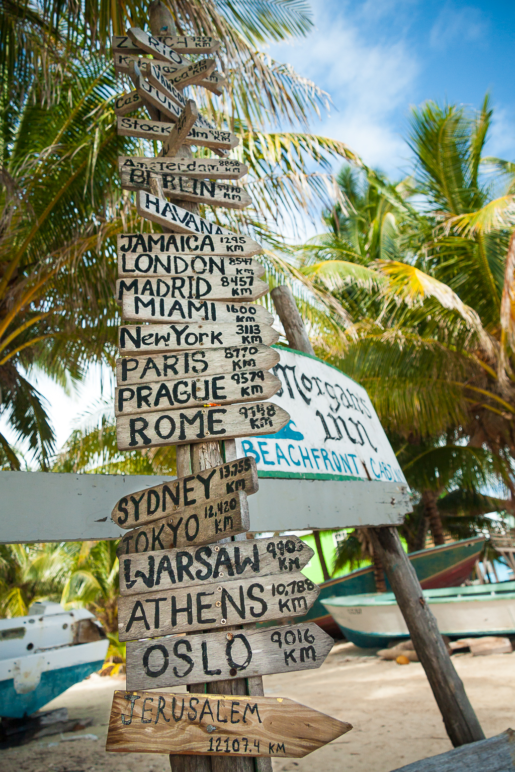 Directions to everywhere from Caye Caulker, Belize