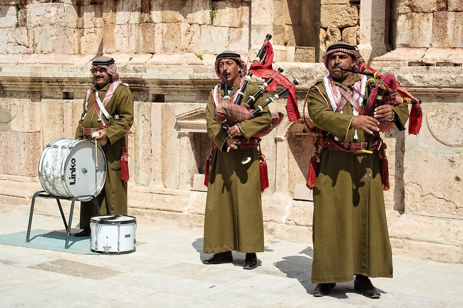 Bagpipers at the South Theater, Jerash, Jordan