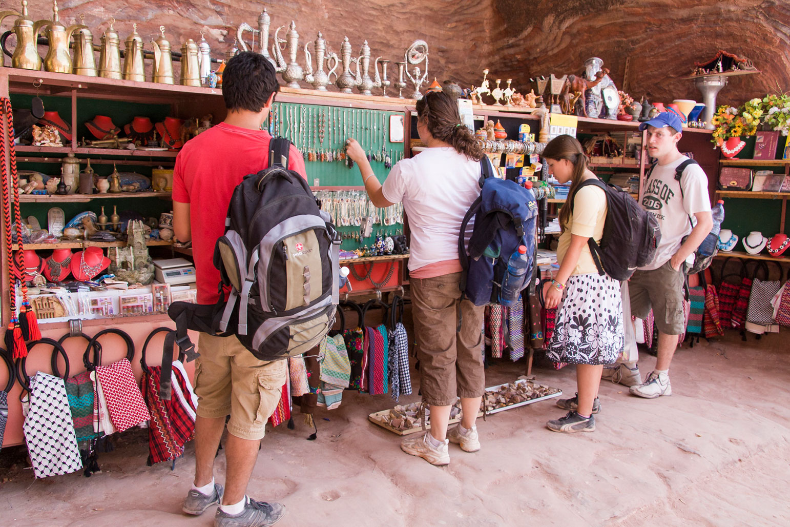 Tourists checking out the sampling of wares available in Petra.