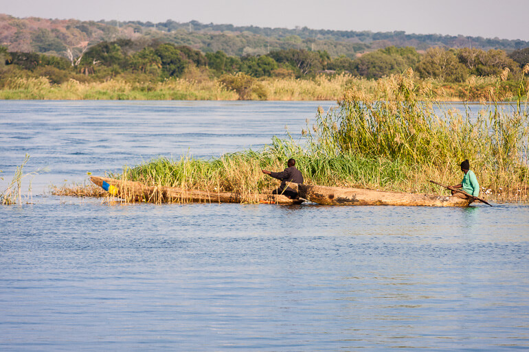 Dugout canoes on the Zambezi River