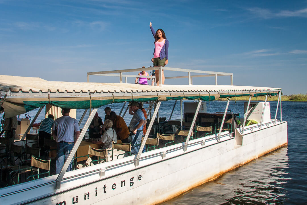 Water safari boat, Chobe National Park, Botswana