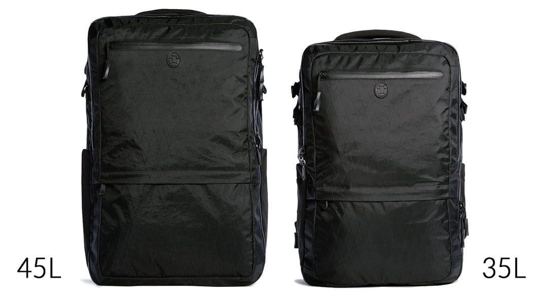 Tortuga Outbreaker 45L and 35L size comparison