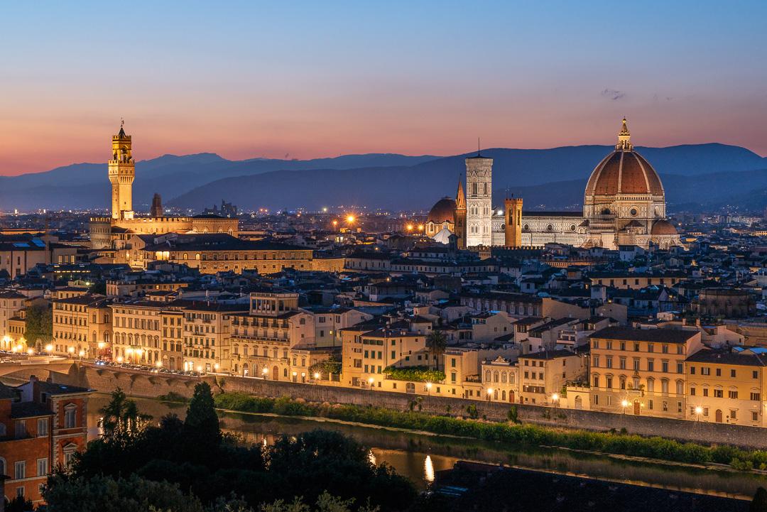 Florence cityscape at dusk